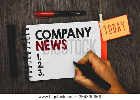 Text Sign Showing Company News. Conceptual Photo Latest Information And Happening On A Business Corp