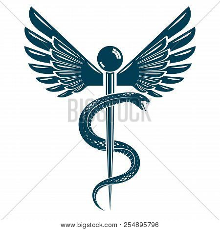 Caduceus Symbol Made Using Bird Wings And Poisonous Snakes Healthcare Conceptual Vector Illustratio