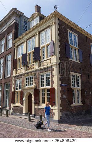 Leiden, Netherlands - July 17, 2018: Historical monument the Bibliotheca Thysiana building at the corner othe Rapenburg