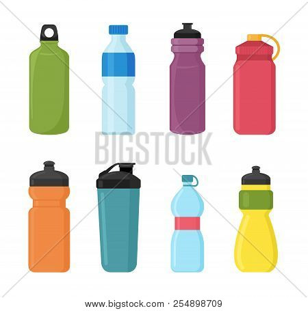 Vector Illustration Set Of Bicycle Plastic Bottle For Water In Different Shaps And Colors. Container