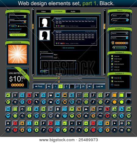 Web design elements set 1. Vector illustration