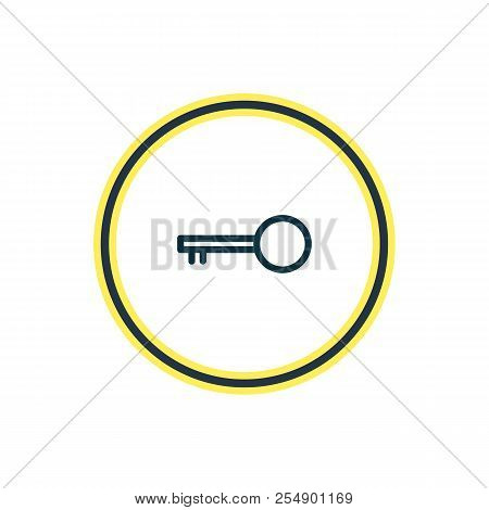 Vector Illustration Of Key Icon Line. Beautiful Bureau Element Also Can Be Used As Latchkey Icon Ele