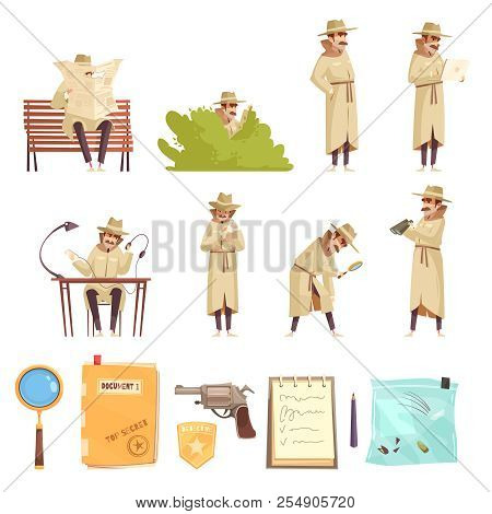 Private Detective Spy Work Cartoon Icons Collection With Revolver Magnifier Forensic Evidence Secret