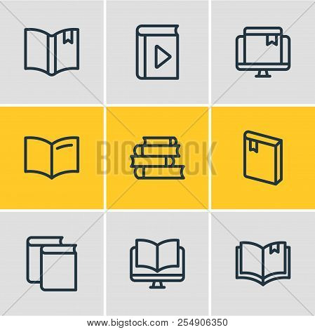 Vector Illustration Of 9 Education Icons Line Style. Editable Set Of Ebook, Magazine, Player And Oth