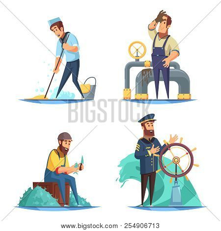 Cartoon Nautical 2x2 Design Concept With Captain And Sailors Isolated On White Background Vector Ill