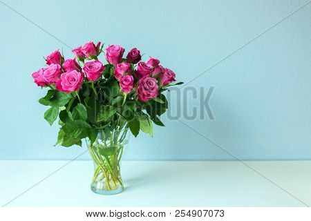 Bouquet Of Roses Is On The Table