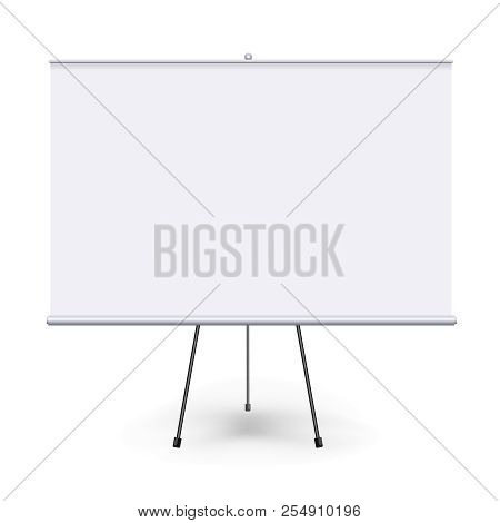 Vector Realistic Blank Flipchart With Three Legs Isolated On White Clean Background. White Horizonta