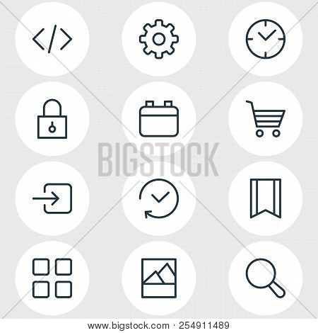 Vector Illustration Of 12 App Icons Line Style. Editable Set Of Calendar, Image, Code And Other Icon