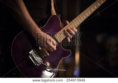 Unknown Musician Plays Guitar In Jazz Bar, Live Performance