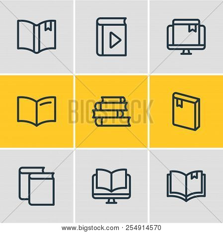 Illustration Of 9 Read Icons Line Style. Editable Set Of Ebook, Magazine, Player And Other Icon Elem