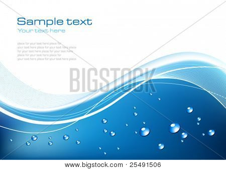 Blue Background With Drops of Water
