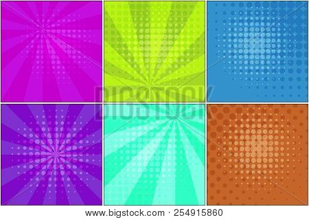 Collection Of Bright Striped Backgrounds For Retro Comic Speech Bubbles In Pop Art Style. Acid Color