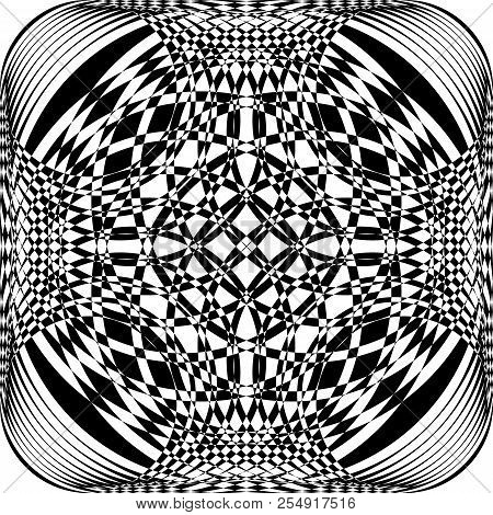 Abstract Frame Multiple Perspective Spherical Illusion Black On Transparent Background