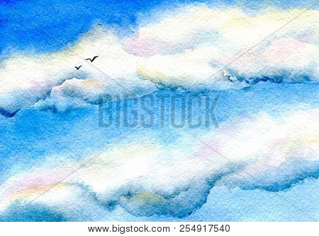 Sky And Birds. Hand Painted Watercolor Illustration