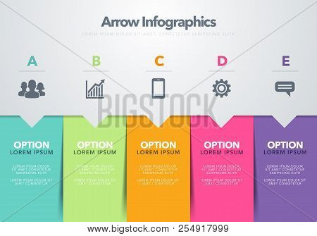 Vector Illustration Modern Infographic Design Template Concept Of Arrow Business Model With Five Suc