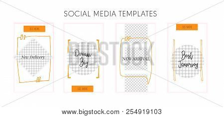 Social Media Template With Typography Quote For Promotion. Story Frame Concept