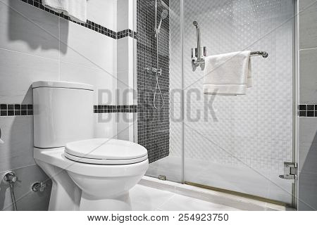 Concept Of Modern Decoration Design Of Bathtoom With Toilet And Shower Decorating With Black And Whi