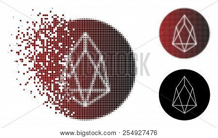 Eos Currency Icon In Fractured, Dotted Halftone And Undamaged Solid Variants. Particles Are Grouped