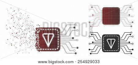 Ton Wallet Circuit Icon In Dispersed, Pixelated Halftone And Undamaged Solid Variants. Points Are Ar