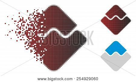 Waves Currency Icon In Dispersed, Pixelated Halftone And Undamaged Whole Versions. Particles Are Com