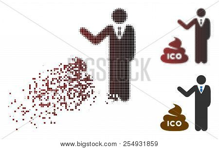 Businessman Show Ico Shit Icon In Dissolved, Dotted Halftone And Undamaged Whole Variants. Pixels Ar