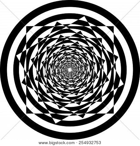 Abstract Frame Multiple Square Into Circles Spiral Perspective Black On Transparent Background
