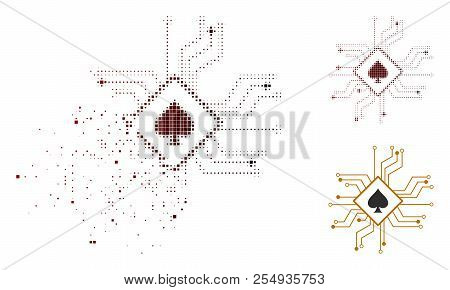 Digital Casino Circuit Icon In Sparkle, Pixelated Halftone And Undamaged Solid Variants. Particles A