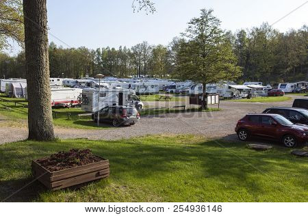 Mariefred, Sweden On May 12. Outdoor View Of The Mariefred Camping, Cars, Caravans And Campers On Ma