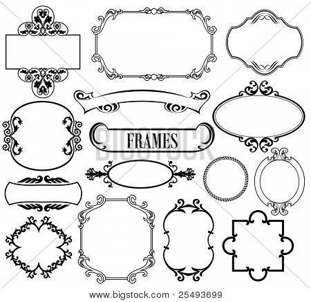 Vector set vintage frames