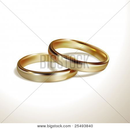Vector golden wedding rings