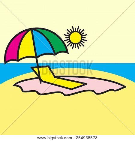 Icon Chaise Lounge The Beach Lounge Chair Beach Vacation Beach Beach Umbrella Paralytic On The Beach