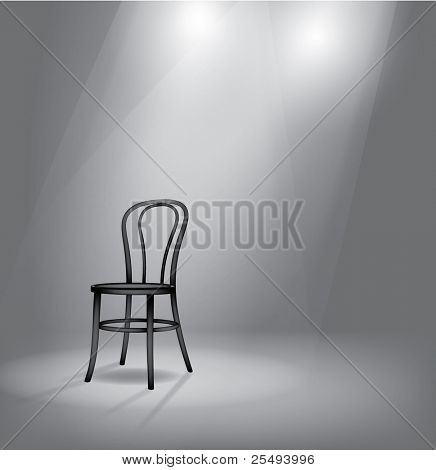 Vector stage with black chair