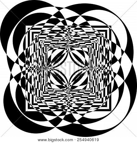 Abstract Circle Square Game Multiple Perspective Spining Black On Transparent Background