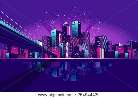 Vector Illustration Neon Colored Multicolored Night City In Electric Lights Bridge Across Canal To M