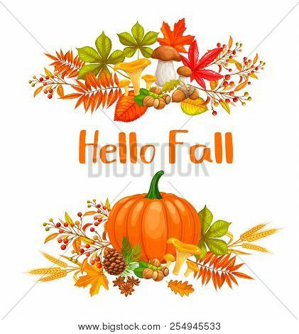 Seasonal Hello Fall Banners With Autumn Foliage Maple, Oak, Elm, Pumpkin, Chestnut, Leaves Rhus Typh