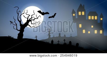 Scary Vector Haloween Landscape With A Haunted House, A Graveyard And Flying Bats In Full Moon.