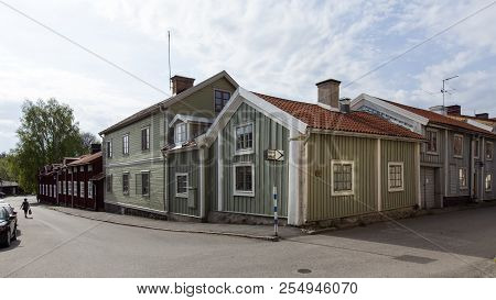 Mariefred, Sweden On May 11. Outdoor View Of A Street, Wooden Buildings On May 11, 2018 In Mariefred