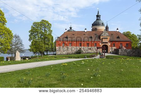 Gripsholm Castle, Sweden On May 11. Outdoor View Of The Entry To The Castle In Springtime On May 11,