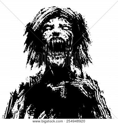 Creepy Zombie Woman Head. Black And White Colors. Vector Illustration.