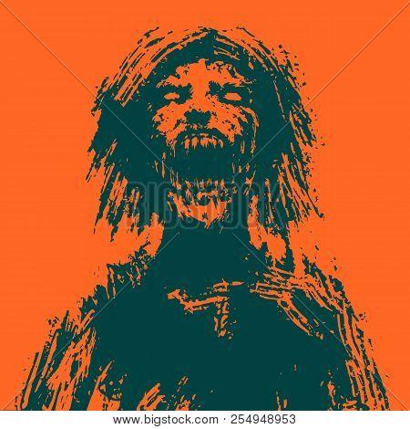 Creepy Zombie Woman Head. Orange Background. Vector Illustration.