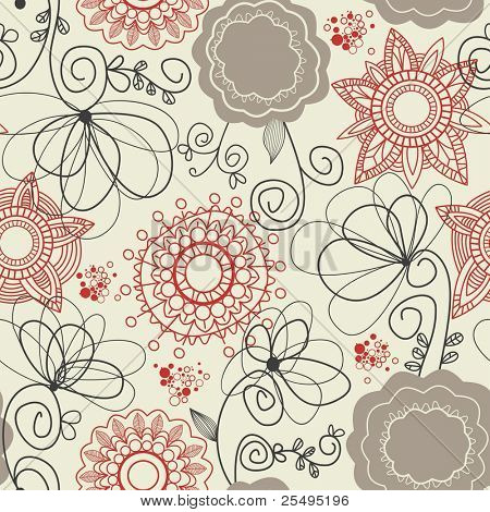 Floral seamless Background in retro-Farben
