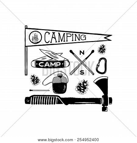 Vintage Hand Drawn Camping Adventure Shapes. Hiking Symbols - Pennant, Knife, Matches, Axe And Other
