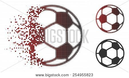Football Ball Icon In Sparkle, Pixelated Halftone And Undamaged Entire Variants. Cells Are Arranged