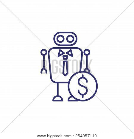 Robo Advisor Line Icon. Robot, Adviser, Expert, Dollar Coin. Consulting Concept. Can Be Used For Top