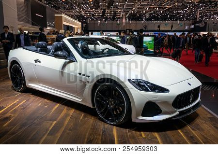 Geneva, Switzerland - March 6, 2018: Maserati Grancabrio Sports Car Showcased At The 88th Geneva Int