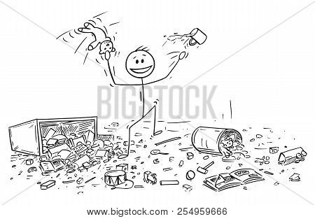 Cartoon Stick Drawing Conceptual Illustration Of Naughty Or Disobedient Little Boy Doing Mess In Roo