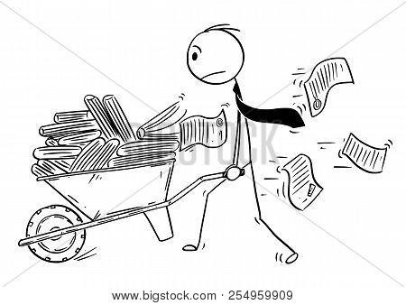 Cartoon Stick Drawing Conceptual Illustration Of Man, Businessman Or Clerk Pushing Wheelbarrow Full