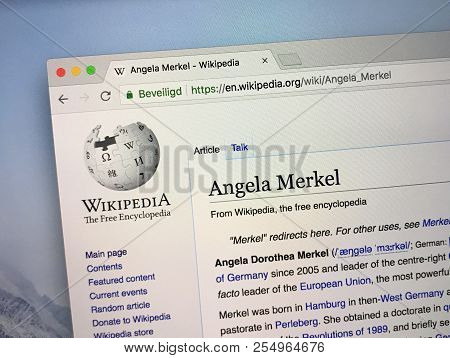 Amsterdam, The Netherlands - August 24, 2018: Wikipedia Page About Angela  Merkel.