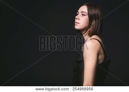 Portrait Of A Beautiful Young Caucasian Caucasian Woman 20 Years Old Model With Blue Eyes Natural Ma