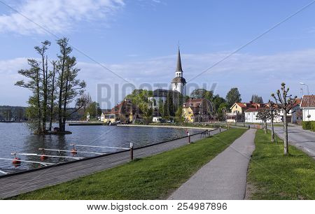 Mariefred, Sweden On May 12. Outdoor View Of The Church And Part Of The Town On May 12, 2018 In Mari